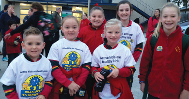 Pupils pound the pavement for National Walk Safely to School Day